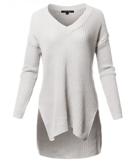 Women's Casual Solid V-Neck Long Sleeves Oversized Knit Sweater