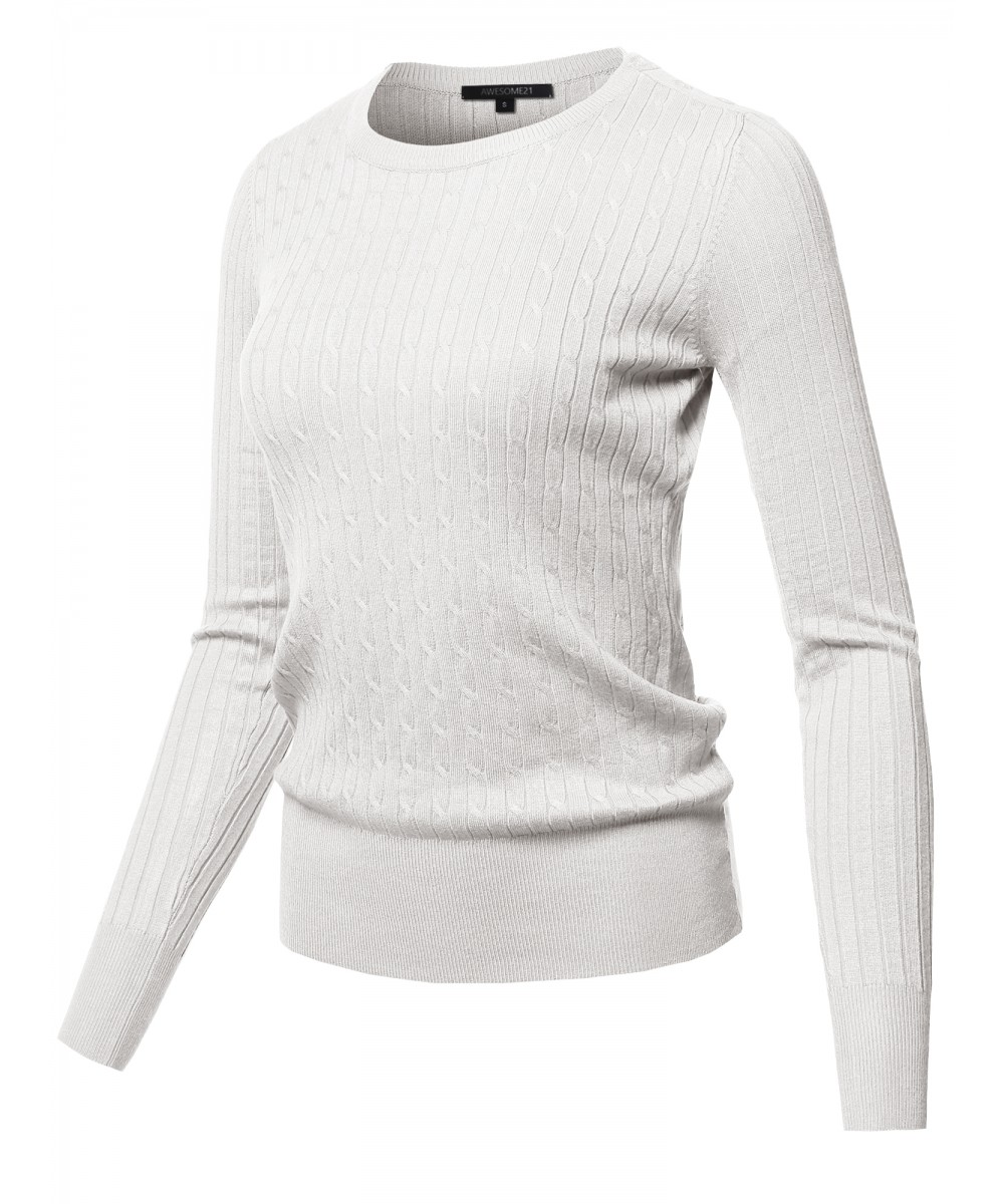 7fd44ebac9 Women s Solid Long Sleeve Round Neck Cable Knit Sweater ...