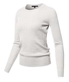 Women's Solid Long Sleeve Round Neck Cable Knit Sweater