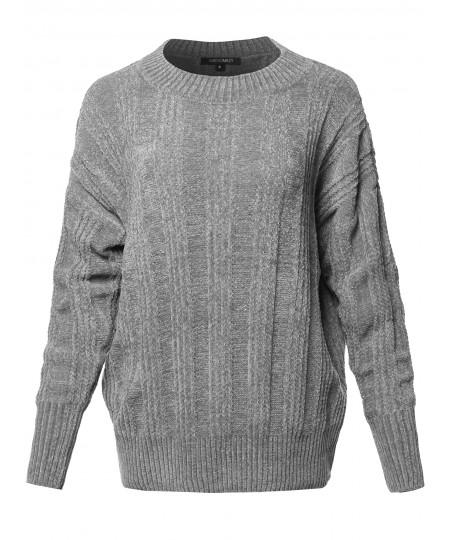 Women's Casual Velvet Yarn Over-Sized Sweater Top