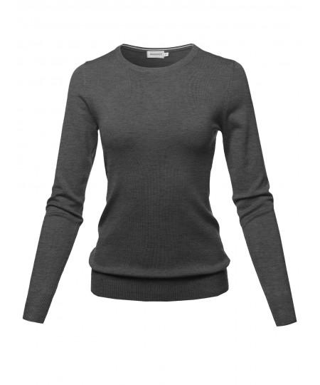 Women's Solid Basic Viscose Nylon Crew Neck Sweater Top