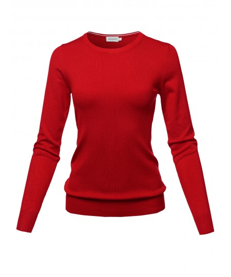 Women's Solid Basic Viscose Nylon Crew Neck Sweater Top