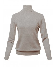 Women's Solid Turtle Neck Long Sleeves Knit Sweater Top