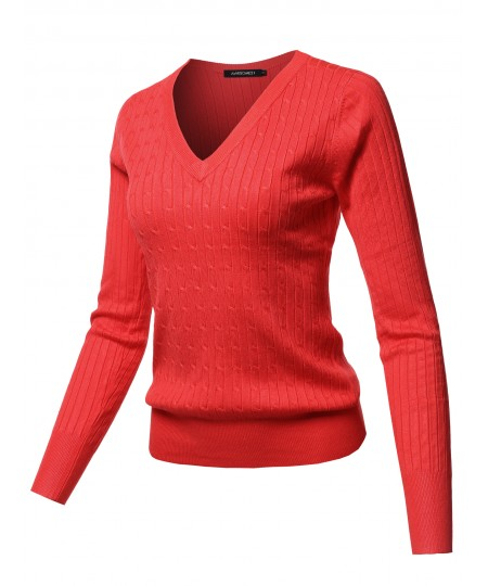 Women's Solid V-Neck Long Sleeve Viscose Nylon Cable Knit Sweater Top