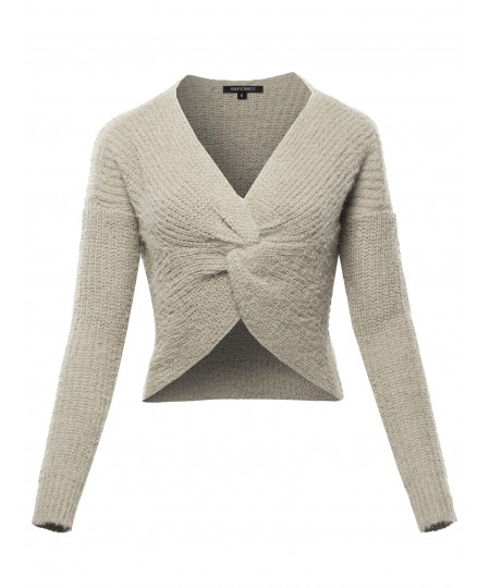 Women's Solid Twist Front Knitted Sweater