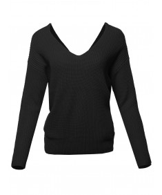 Women's Casual V Neck Criss Cross Backless Loose Knitted Pullovers