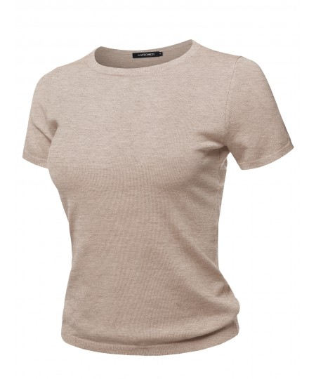 Women's Classic Solid Round Neck Short Sleeve Viscose Knit  Sweater Top