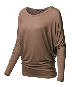 Women's Casual Solid Boat Neck Long Dolman Sleeve Top - MADE in USA