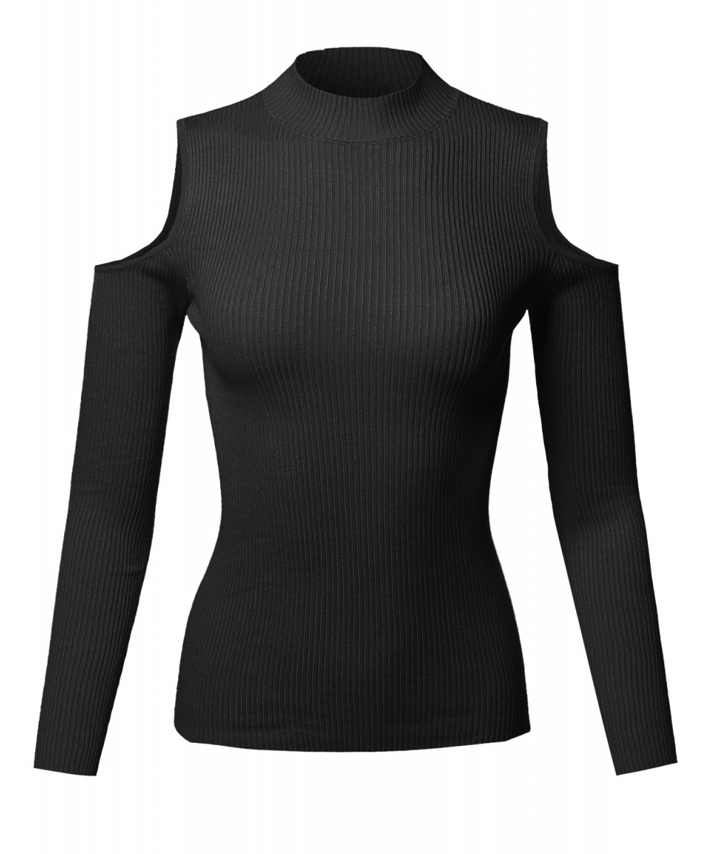 Women/'s Cold Shoulder Mock Neck Stretch Long Sleeve Ribbed Sweater Top Shirt