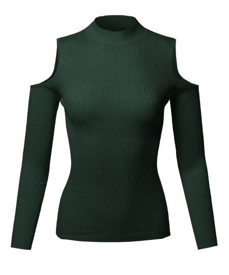 Women's Causal Fitted Cold Shoulder Long Sleeve Mock Neck Rib Top