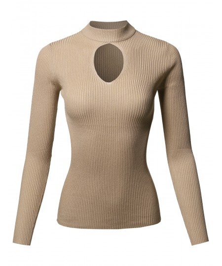 Women's Casual Fitted Front Key Hole Neck Long Sleeve Mock Neck Rib Top