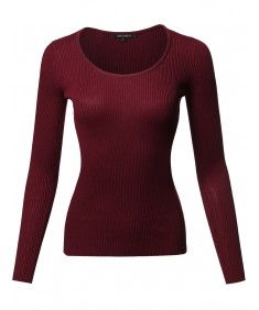 Women's Causal Basic Fitted Long Sleeve Scoop Neck Rib Top
