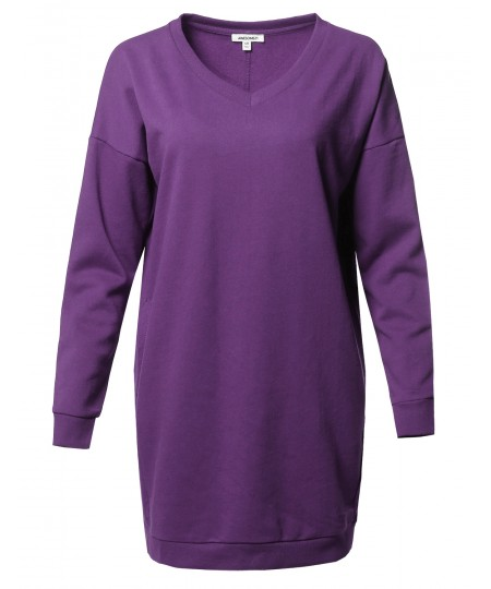 Women's Casual Over-sized Loose Fit V-neck Tunic Length Sweatshirts