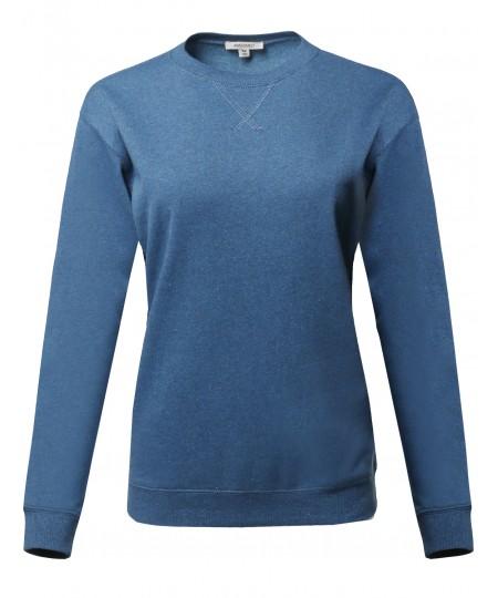 Women's Causal Crew Neck V-Notch Detail Sweatshirt