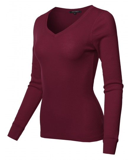 Women's Basic Casual Solid Long Sleeve V-neck Thermal Tops