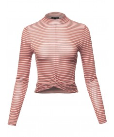 Women's Casual Stripes Long Sleeve Twist Knotted Front Crop Top