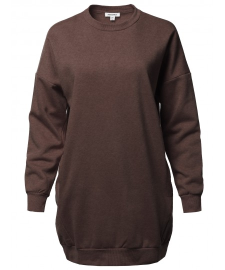 Women's Casual Over-Sized Loose Fit Round Neck Tunic Length Sweatshirts