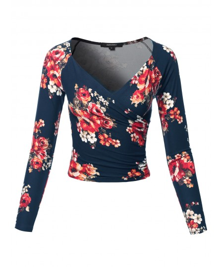 Women's Floral Wrapped Front Long Sleeve V-Neck Crop Top