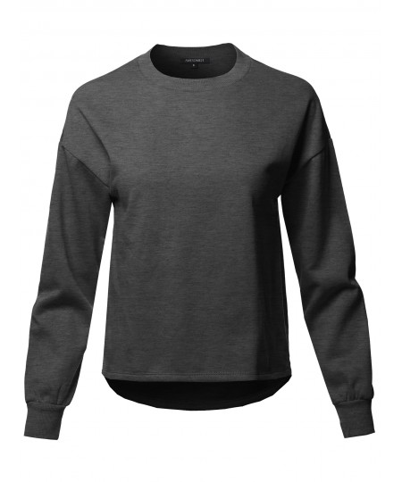 Women's Casual Long Sleeve Round Neck Over-Sized Short Sweat Top