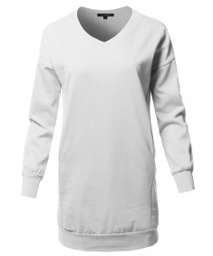 Women's Casual Long Sleeve V-Neck Over-Sized Tunic Dress Top