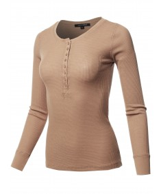 Women's Solid Long Sleeves Henley Neck Thermal Top