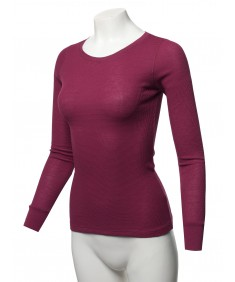 Women's Basic Casual Solid Long Sleeve Round-Neck Thermal Tops