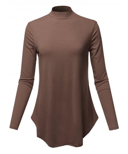 Women's Solid Long Sleeves Round Hem Mock Neck Top
