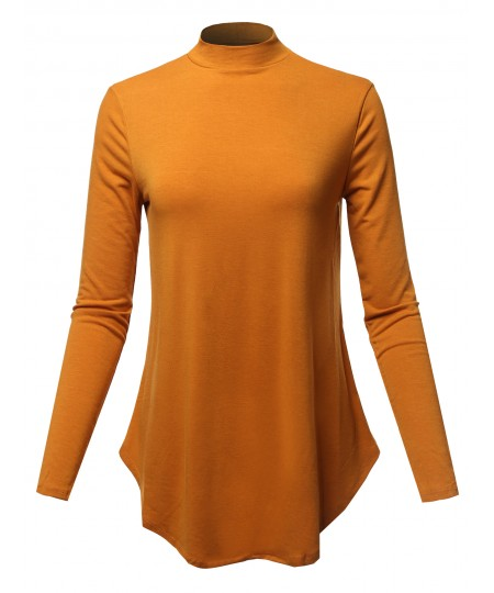Women's Solid Long Sleeves Round Hem Mock Neck Top