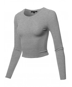 Women's Solid Round Neck Long Sleeve  Basic Crop Top
