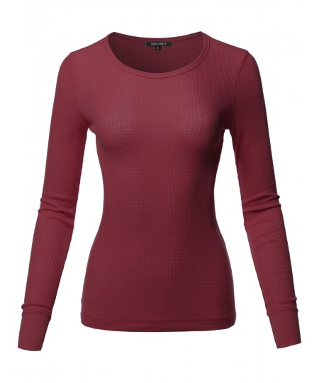 Women's Casual Solid Basic Crew Neck Long Sleeves Thermal Top