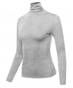 Women's Solid Long Sleeve Slim Basic Turtleneck Top