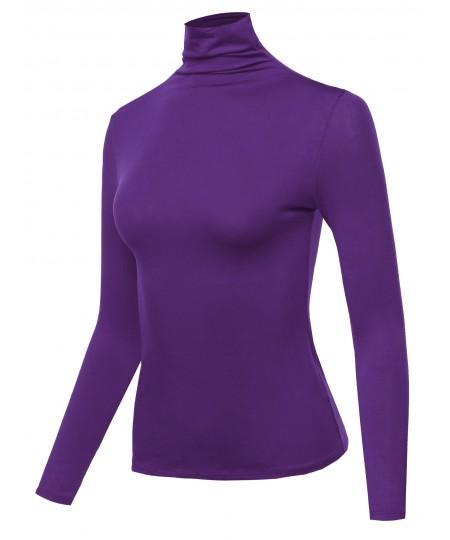 Women's Solid Long Sleeve Slim Basic Turtleneck Top