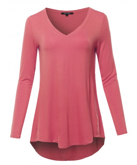 Women's Solid Long Sleeve Shirt High Low Casual Top