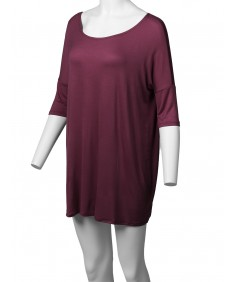 Women's Solid Basic Relaxed Fit Soft Stretch Elbow Sleeve Tunic Top