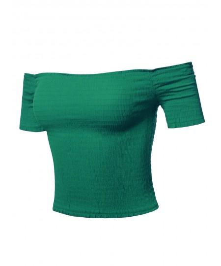Women's Solid Off-Shoulder Smocked Crop Top