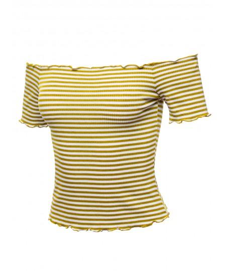 Women's Casual Stripes Lettuce Hem Ribbed Off-Shoulder Crop Top