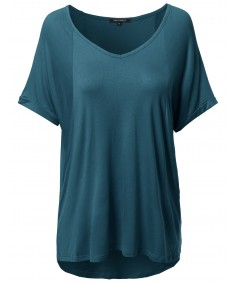 Women's Solid Loose Fit Soft Stretch V-neck Short Sleeve Tunic Top