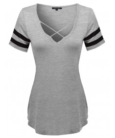 Women's Loose Fit Soft Stretch Varsity Strappy V-neck Short Sleeve Tee Top