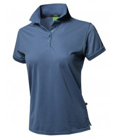 Women's Junior Size Breathable Button Placket Short Sleeves Polo Shirt