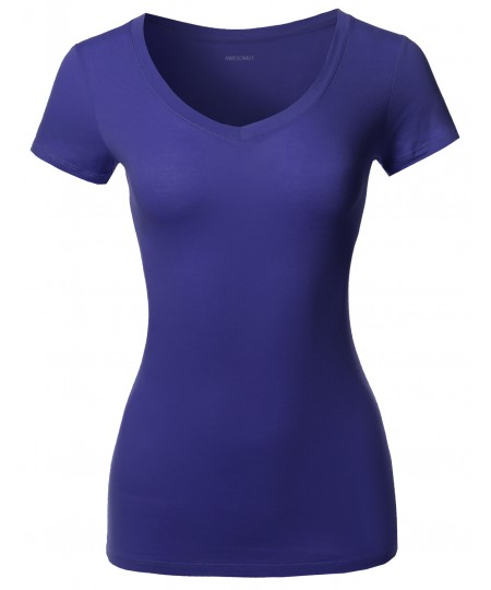 Women's Solid Basic Various Colors V-Neck Short Sleeves Top
