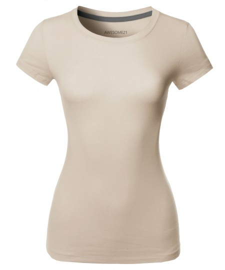 Women's Solid Basic Short Sleeve Crew Neck Tee