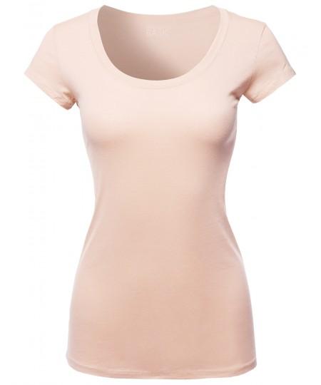 Women's Solid Basic Cap Sleeves Scoop Neck Tee