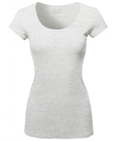Women's Solid Basic Cap Sleeves Scoop Neck Tee