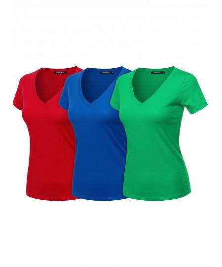 Women's Solid Basic Lightweight V-Neck Short Sleeve Top
