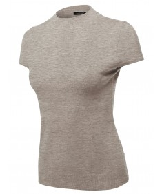 Women's Solid Office Look Viscose Mock Neck Short Sleeves Top