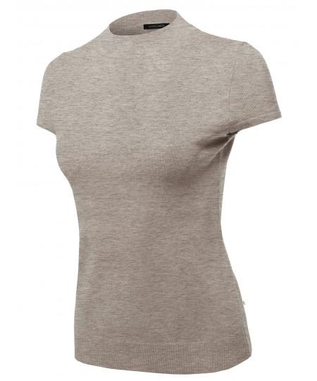 Women's Solid Office Look Viscose Mock Neck Short Sleeves Top