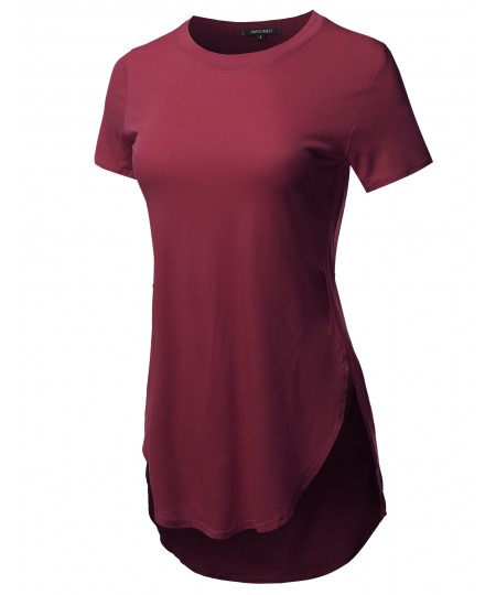 Women's Solid Over-Sized Side Slit Short Sleeves Round Neck Top