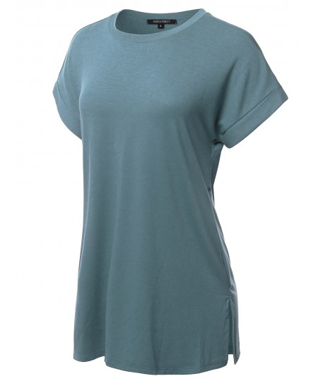 Women's Solid Rolled Up Short Sleeve Over-Sized Round Neck Tunic Top
