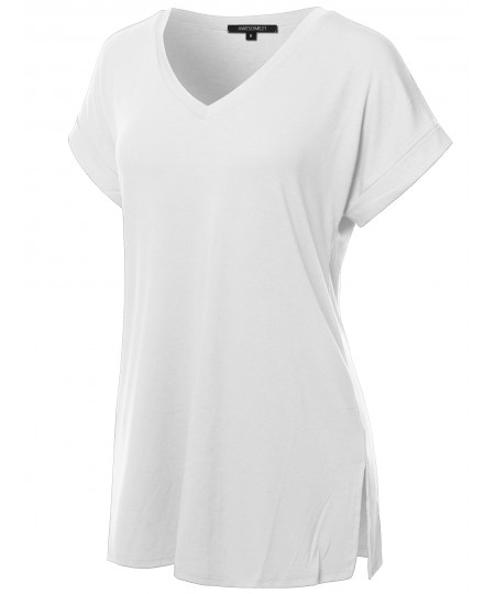 Women's Solid Rolled Up Short Sleeve Over-Sized V-Neck Tunic Top