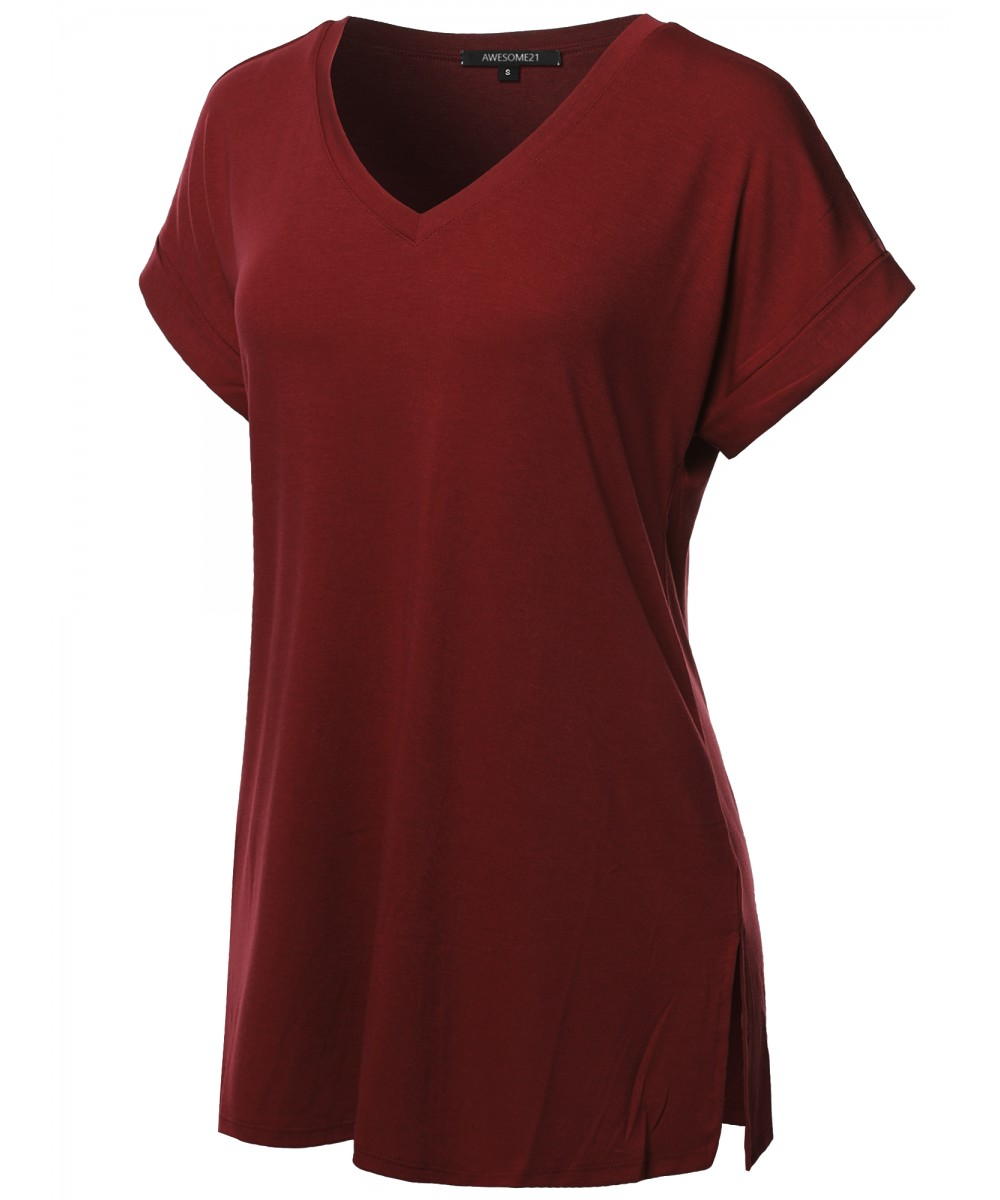 3ed2c13e57f Women's Solid Rolled Up Short Sleeve Over-Sized V-Neck Tunic Top ...